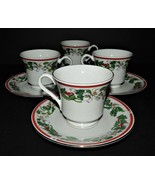 4 St Maria Lynns Fine China Cups & Saucers Christmas Holly & Berry Red Band - $34.64