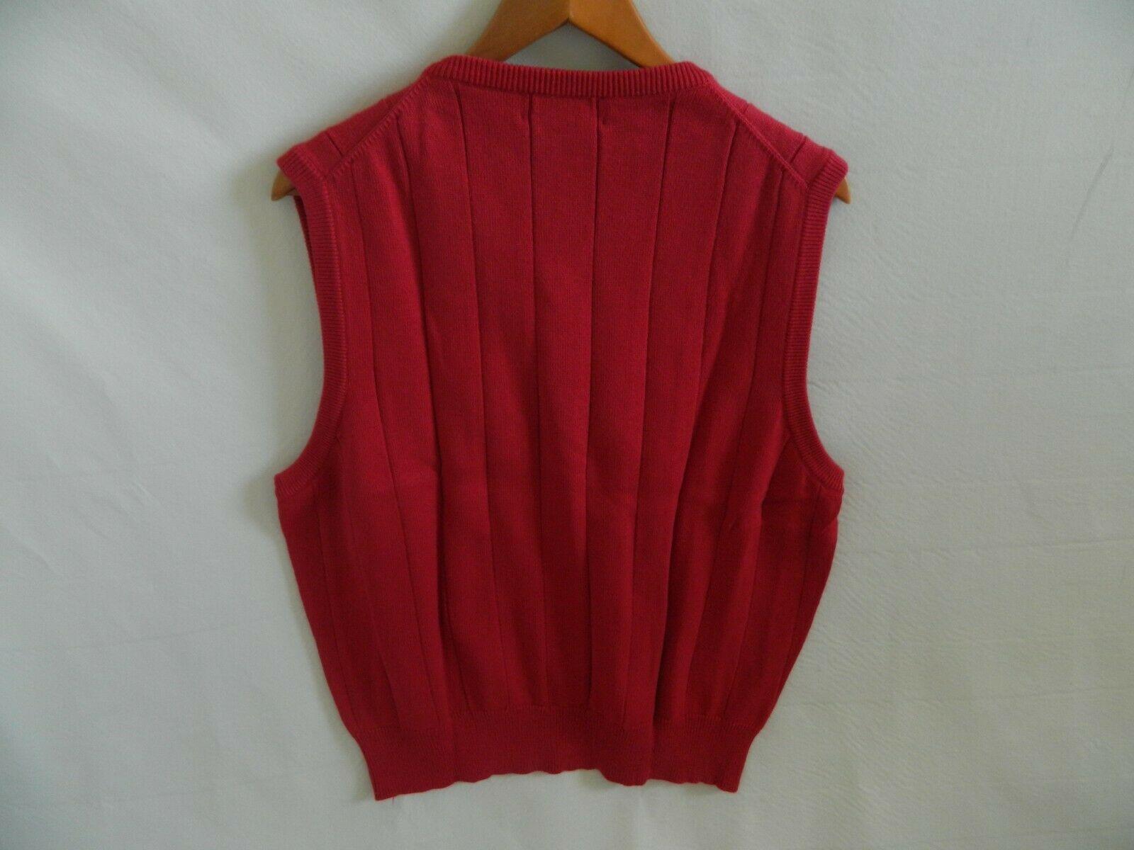Polo Golf Ralph Lauren Mens Red 100% Cotton Sweater Vest Blue Pony Size M USA! image 2