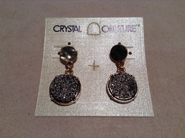 NEW Crystal Couture Gold w Dark Gemstone Stud Dangle Earrings