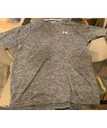 Under Armour Mens Heatgear Loose T Shirt Size Large Grey/Black Running S... - $12.86