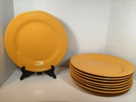 "Royal Norfolk Set of 8 Yellow Ribbed Dinner Plates Approx 10 & 7/8ths"" Wide - $50.34"