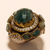 Ring 925 Sterling Silver Jewelry Brass Beautiful Green Stone Vintage  India - $428.45