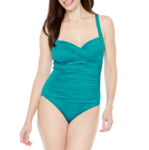 Liz Claiborne Solid One Piece Swimsuit Size 6 Msrp $89.00 Teal New - $39.99