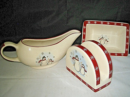 ROYAL SEASONS STONEWARE SNOWMAN  Gravy Boat Napkin Holder Snack Tray LOOK - $18.99