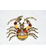 SPIDER CRAB ACRYLIC & ENAMEL RHINESTONE BROOCH PIN UNBRANDED EUC  - $14.99