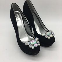 Women's Shoes Qupid  Stones Embellished Heel Black, Size 6.5 - $14.85