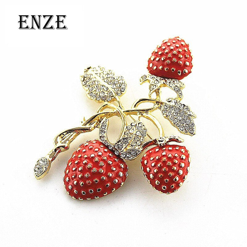 Primary image for Free shipping The new strawberry rhinestone drop glaze enamel delicate high-grad