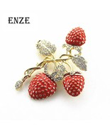 Free shipping The new strawberry rhinestone drop glaze enamel delicate h... - $21.08