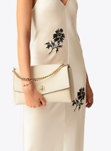 NWT Tory Burch New Cream KIRA Mixed-material Double-strap Shoulder Bag image 11