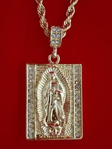 Hip Hop Iced CZ 14K Gold GP Prayer Mary Jesus Square Pendant Rope Chain ... - $9.04