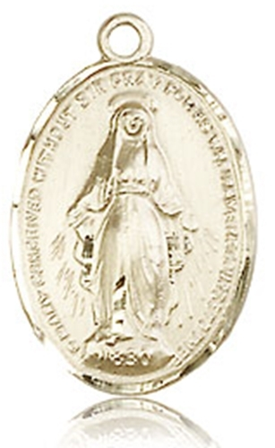 Miraculous medal   14kt gold medal   no chain   0015
