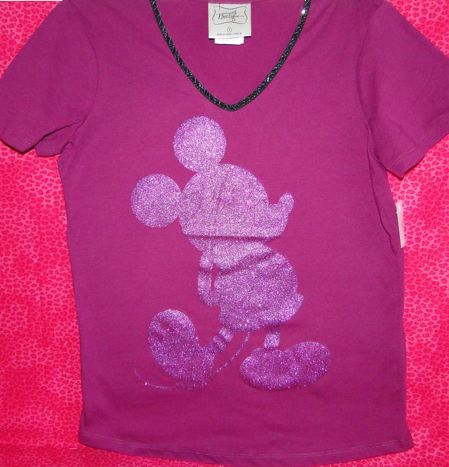 Disney Mickey Mouse Women's Beaded & Sparkle Shirt Size Small