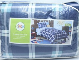 Circo 5 Pc Twin Comforter Navy Blue Plaid Sheets Bedding Blanket Set - $74.99