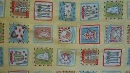 Tea & Coffee Cup Silverware Print Yellow Background Concord Fabrics 4 7/... - $69.85