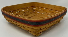 "Longaberger 1998 Picnic Pal 9"" x 9"" Basket BLUE & RED WEAVING Patriotic ... - $36.09"