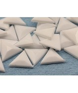 13mm White Chalk .WHT Flat Back Triangle Acrylic Gemstones - 50 Pieces - $5.61