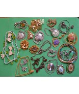 Vintage necklace lot 22 SPRING theme flower butterfly cameo delicate cos... - $33.65