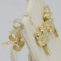 SOLID 18K YELLOW GOLD EARRINGS DRAGONFLY & ZIRCONIA DIAMETER 10 MM MADE IN ITALY image 3
