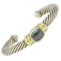 David Yurman Sterling Silver 14k Gold Hematite Noblesse Cable Cuff Bracelet - $886.05