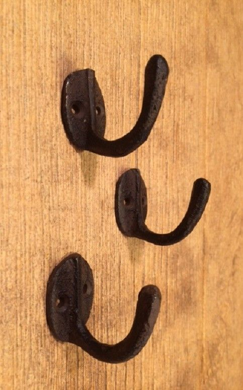 "Primary image for Wall Robe Hook Cast Iron Rustic Brown 1 1/2"" (Set of 3) Bath Decor 0170-01203"
