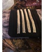 HANDMADE Cool Midnight Black Soft Cream Crochet Handbag - $12.87