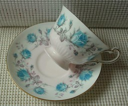 Vintage E.B. FOLEY China TEA CUP & SAUCER TURQUOISE BLUE ROSES PINK BAND... - $24.24