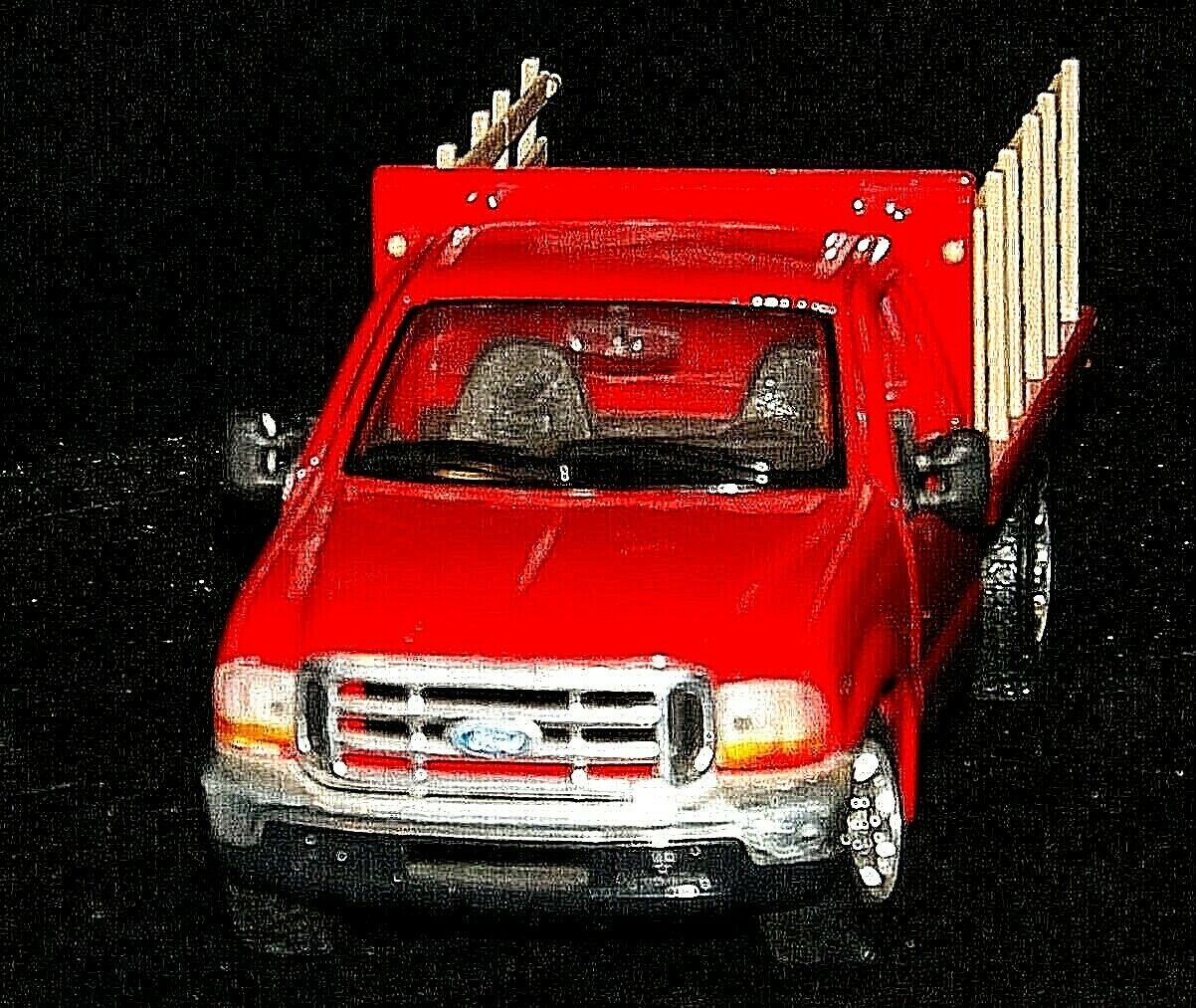 Maisto Ford 350 die-cast replica toy red truck with hay rack AA19-1646 Vintage