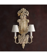 Italian Antique White Parrano Rococo Sconce,Carved Wood 2 Light,15'' x 2... - $2,178.00