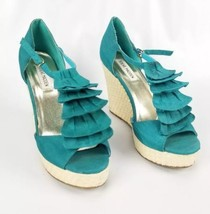 Steve Madden Womans Size 9.5 Platform Wedge Basket Weave 4in Heel Teel  - $16.48