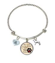 Custom Dog Husky Road to My Heart Paw Print Silver Wire Bracelet Choose Initial - $16.73