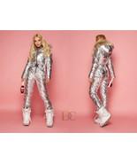 New Metallic Silver Ski Snow Suit Men Women Male Female Winter Anzug Gla... - $249.00