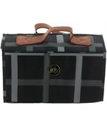 JOY Plaid Nylon Leather Lg Better Beauty Case Black One Size NEW 611-989 - $44.53