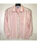 So Blue Sigrid Olsen Linen Shirt Womens Size M Pastel Stripe Easter Spring - $44.54