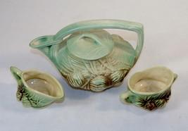 McCoy Tea Set,Brown & Green Ceramic Tea Set Pine Cone from 1946 ~ Good C... - $48.95
