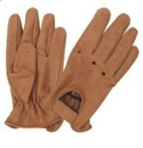 Brown Leather Full finger Vented Driving Gloves - $19.95