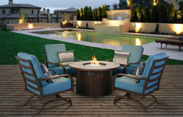 Outdoor Firepit Chat Group Patio Furniture Motion Club Chairs Fire Pit T... - $1,195.00