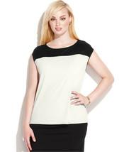 NWT-Calvin Klein ~Size 3X~ Faux Leather Trim Colorblock Plus Size Top Re... - $35.99