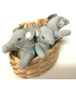Vintage Hand Made 3 Grey Mice In A Basket - $14.85