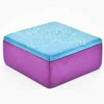 Vaneal Group Hand Carved Kisii Soapstone Blue Fuchsia Floral Flower Trinket Box image 2