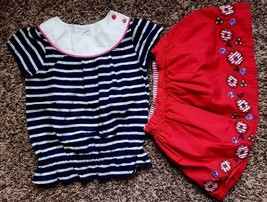 Girl's Size 2 2T Years 2 Pc Navy Striped Gymboree Top, Red Floral Carter... - $27.00