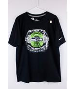 NIKE SEAHAWKS 2013 Champion Shirt Black Green Short Sleeve Size M - $9.79
