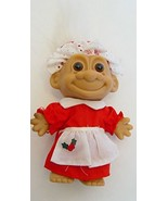 "Russ Berrie Vintage White Haired Mrs. Santa Claus Troll Doll 5"" Tall - $21.99"