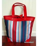 New Lancome Large Red White Blue Yellow Multi Stripe Shopper Canvas Tote... - $15.83