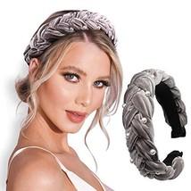 Pearl Headbands for Women Velvet Wide Knot Headband Elastic Turban Headwear Hair