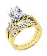 1.76CT WOMENS DIAMOND ENGAGEMENT RING WEDDING BAND BRIDAL SET ROUND YELL... - $3,955.05