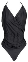 J Crew Halter Wrap One Piece Swimsuit B5816 Black 14 - $36.79