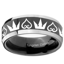 Hearts and Crowns 8mm Two Tone Black Beveled Tungsten Ring - $43.99