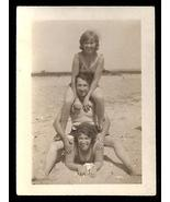 Vintage Snapshot Human Pyramid Beach Sand Summer Day 1930s era Photograph - $10.99