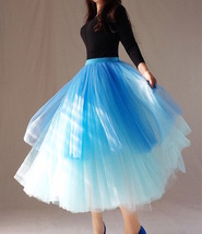 Women Tier Layered Tulle Skirt Blue Tulle Mesh Party Prom Tulle Skirt Pl... - $68.99