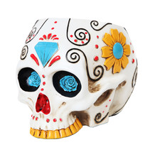 7.25 Inch White Day of The Dead Skull Canister Statue Figurine - $35.19